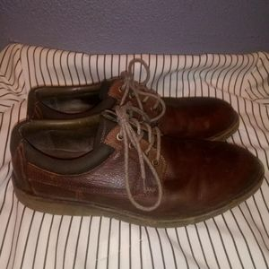 Dockers Mens 11 Brown Leather Lace Up Casual Shoes